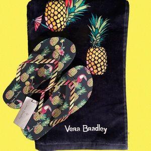 Vera Bradley FLIP FLOPS & BEACH TOWEL SET NWT
